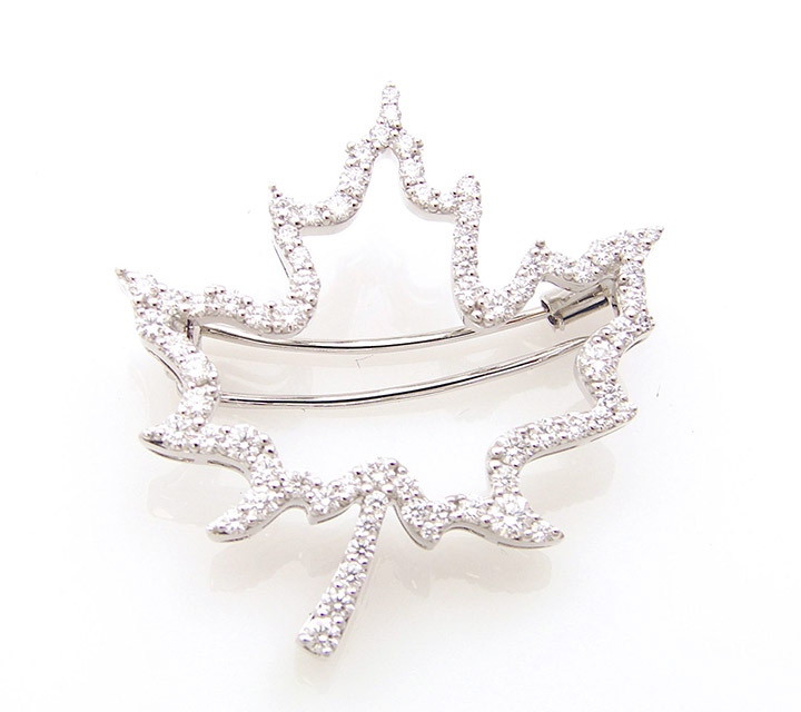 white gold Maple Leaf brooch