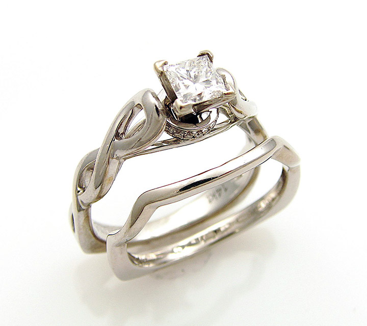 white gold engagement ring with diamonds