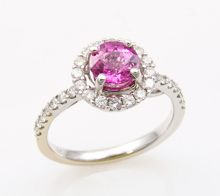 haloed white gold ring with pink sapphire
