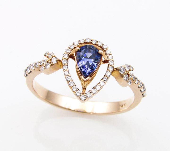 rose gold ring with rare benitoite gemstone