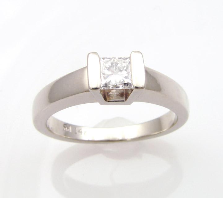 white gold engagement ring princess cut diamond