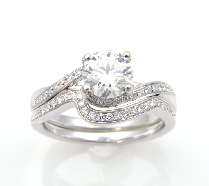 white gold Zeghani engagement and wedding ring