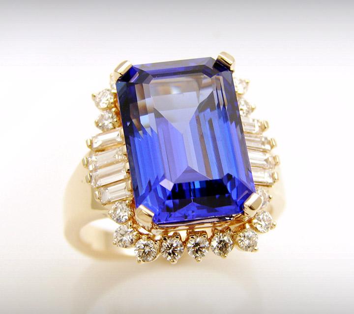 Custom made tanzanite and diamond ring
