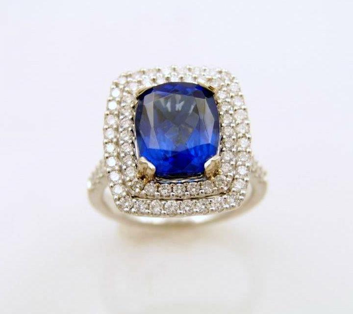 white gold tanzanite and diamond ring with diamonds
