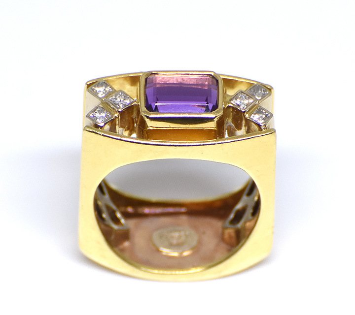 yellow gold custom made amethyst and diamond dinner ring