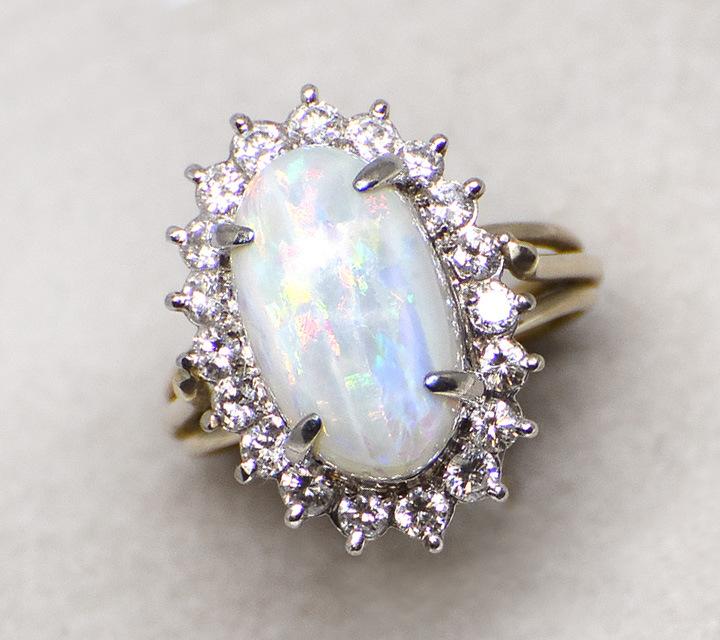 white gold opal and diamond dinner ring