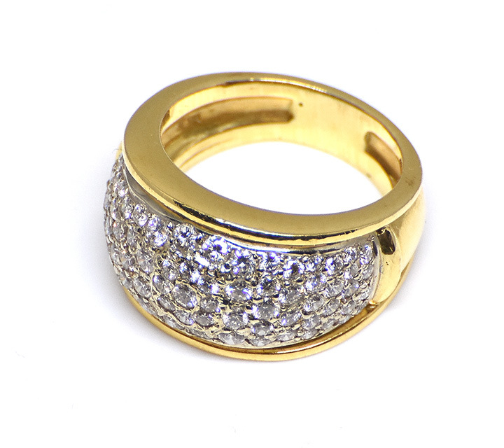 yellow and white gold custom made ring with diamonds
