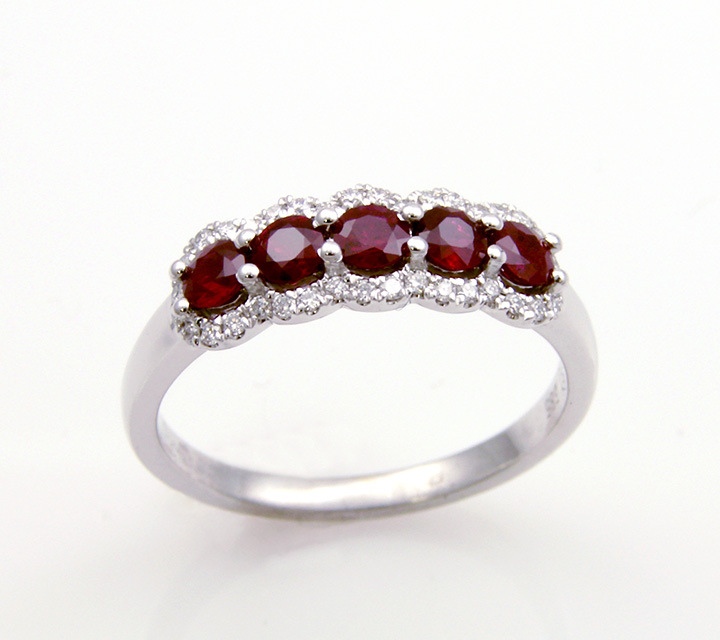 white gold ruby and diamond dinner ring