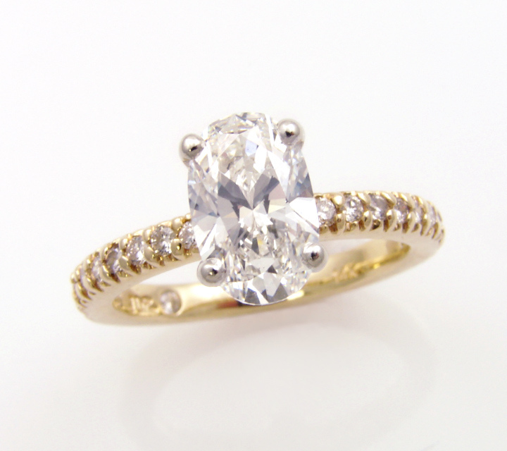 yellow and white gold engagement ring with diamond