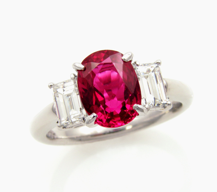 Platinum ruby and diamond dinner white gold ring
